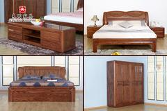 光明家具 美国进口红橡木实木床现代中式古典床 超值两房15件套